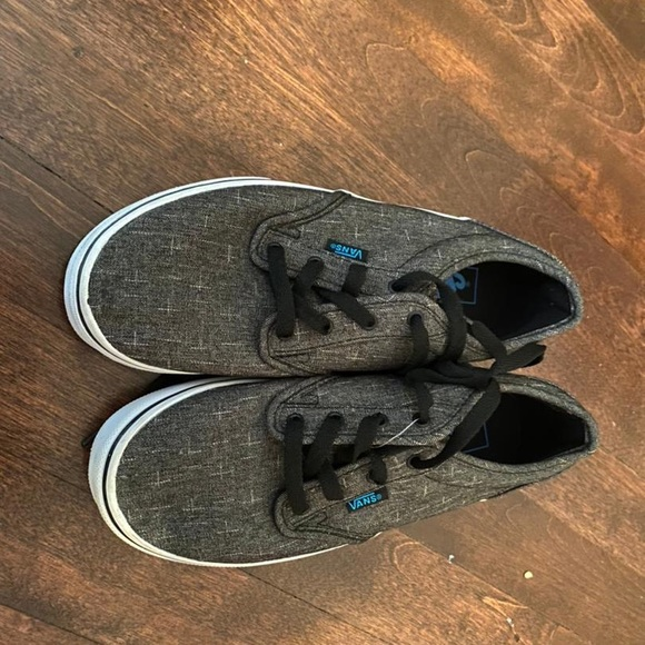 Two pairs Vans sneakers size 4.5 Youth black grey